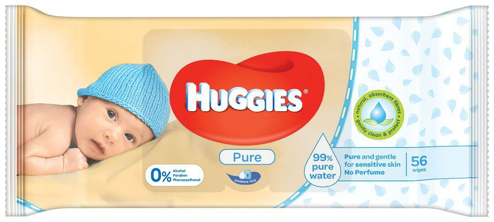 Huggies Pure Wipes Packs of 56 Various Quantities Baby Nappy Changing Good Value
